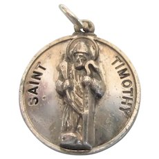 Sterling St. Timothy Medal Pendant Charm Signed Creed