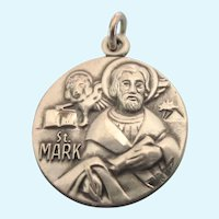Beautiful Sterling St. Mark's Medal Pedant Charm, Signed JCC