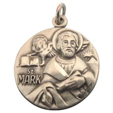 Beautiful Sterling St. Mark's Medal Pedant Charm, Signed JCC