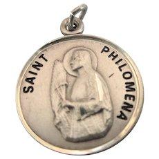 Vintage Sterling Saint Philomena Medal Pendant Charm, Signed JCC