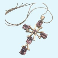 "Beautiful Sterling and Amethyst Cross Pendant Necklace, 18"" Italian Chain"
