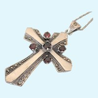Fabulous Vintage Sterling and Garnet Large Cross Pendant