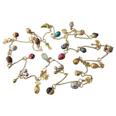"""Spectacular LONG Joan Rivers 70"""" Charm Necklace, 31 Charms,  Faberge Eggs and More"""
