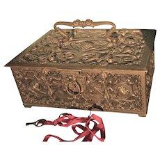 Ornate Antique Bronze Large Box With Key, Signed Erhard & Sohne Jugenstil Germany