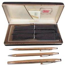 Vintage Cross 14Kt Rolled Gold GF Trio Pen Pencil Set In Original Box With Selectip