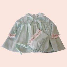 Vintage Polly Flinders Hand Smocked Dress Set - Dress, Coat, Hat - 12 Months or Doll Dress