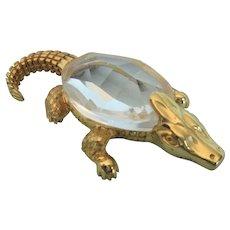 1982 Swarovski Trimlite Alligator Goldtone Figurine
