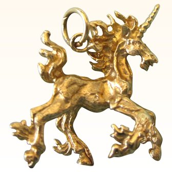 Exceptional 14K Unicorn 3-D Charm Pendant - Solid, Detailed - 3.7 Grams