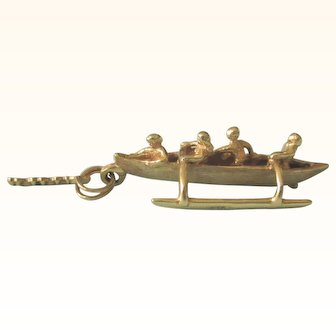 Fabulous 14K Gold Hawaiian Outrigger With Oarsman Detailed 3-D Charm