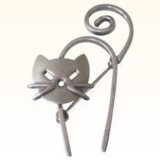 Signed Danecraft Sterling Modernist Cat Kitten Pin - Adorable!