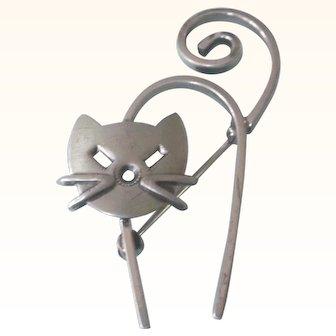 Signed Danecraft Sterling Modernist Cat Kitten Pin - Adorable!