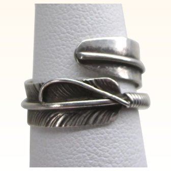 Navajo Sterling Feather Wrap Ring, Size 7, Signed Charley