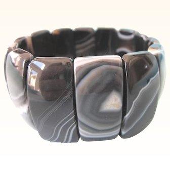 Sophisticated Banded Agate Mineral Gemstone Stretch Bracelet