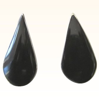 Stunning Signed Taxco Sterling and Black Onyx Elongated Pierced Earrings