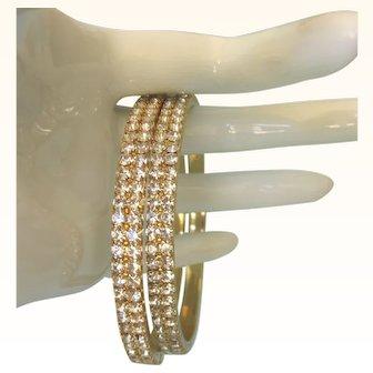Pair of Dazzling Rhinestone Goldtone Bangle Bracelets