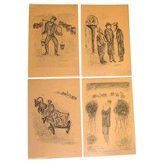 Suite of 4 Prints Reproductions by Polish Israeli artist Simon Natan KARCZMAR 1903-1982