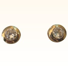Dazzling Vintage 14K YG CZ 1 CTW Pierced Bezel Set Stud Earrings