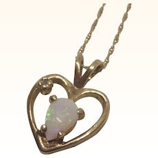 "Feminine 14K Gold Opal and Diamond Accent Heart Pendant With 14K 18"" Chain"