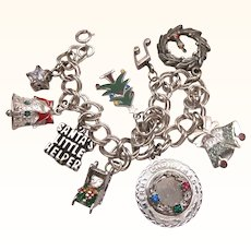 Loaded All Sterling Christmas Theme One-of-a-Kind Charm Bracelet, 3-D, Enamels, Moveable