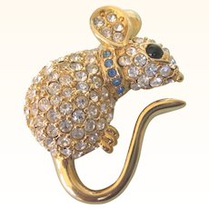 Dazzling Joan Rivers Pave Rhinestone Mouse Pin, Signed