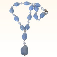 Lovely Vintage Blue Glass Bead Y Necklace