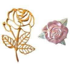 Vintage Goldtone Cutout Brooch With Rhinestones and Bonus Enamel Rose Brooch