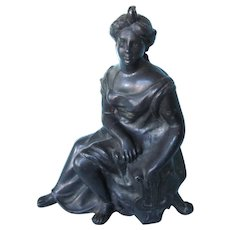 Stunning Vintage Metal Figure of Woman on Bench, Decor or Single Bookend