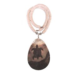 Dramatic Hawaiian Carved Abalone Turtle Pendant and Puka Shell Bold Necklace