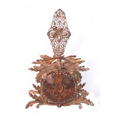 Gorgeous Ormolu Filigree Ornate Floral Perfume Bottle, Bevel Amber Glass