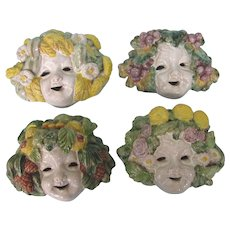 Fabulous Vintage Italian Majolica Set of Four Seasons Face Plaques, Biordi