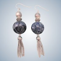 Stunning Sterling and Sodalite Long Drop Tassel Pierced Earrings