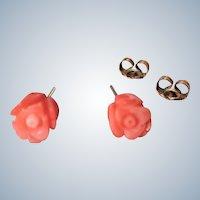 Vintage Carved Floral Angel Skin Coral Pierced Gold Filled Stud Earrings