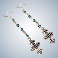Vintage Long Beaded Cross Dangle Pierced Silvertone Earrings