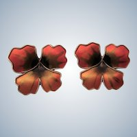 Vintage D-A David Andersen Vermeil Enamel Flower Pierced Earrings - Gorgeous!