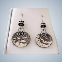 Stunning Modernist Hammered Sterling Silver Drop Pierced Earrings - Long French Wires