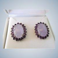 Gorgeous Sterling Lavender Jade and Amethyst Gemstone Pierced Earrings