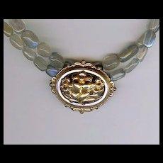MEZEL- Vintage French Brooch & Labradorite Necklace