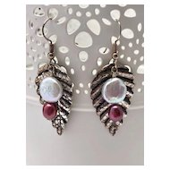 Cultured Freshwater Pearl & Silver Earrings