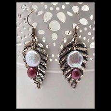 Cultured Freshwater Pearl & Silver Earrings