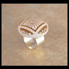 Painted Carved Lucite & Rhinestones Ring
