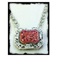 """FLEUR ROUGE""- Cinnabar &  Sterling Silver Necklace"
