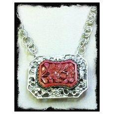 """FLEUR ROUGE""- Cinnabar &  Sterling Silver Necklace"