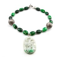 Moss on Snow Jade Pendant Necklace