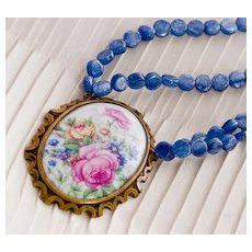 ROSES de FRANCE- Porcelain Pendant & Kyanite Necklace