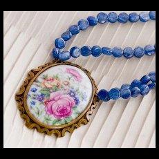 ROSES de FRANCE- Porcelain Pendant & Kyanite Necklace