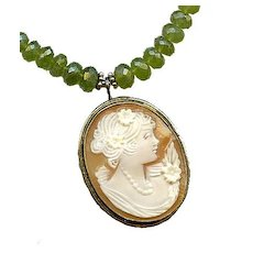 Mme de TENCIN- Shell Cameo & Hessonite Garnet Necklace