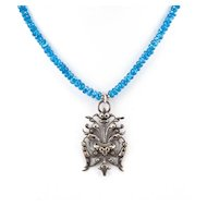 BOUQUET ARGENT -  Silver Plated Pendant & Dark Apatite Necklace