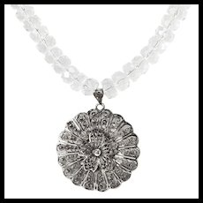"Filigree & Rock Crystal ""Fleur de Dentelle"" Necklace"