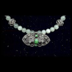 """""""Green Moon"""" Vintage French Brooch & Moonstone"""