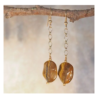 Tiger Eye Chain Earrings